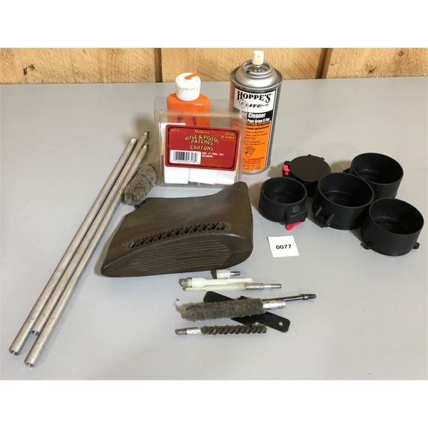 JOB LOT - GUN CLEANING TOOLS, RECOIL PAD & SCOPE COVERS