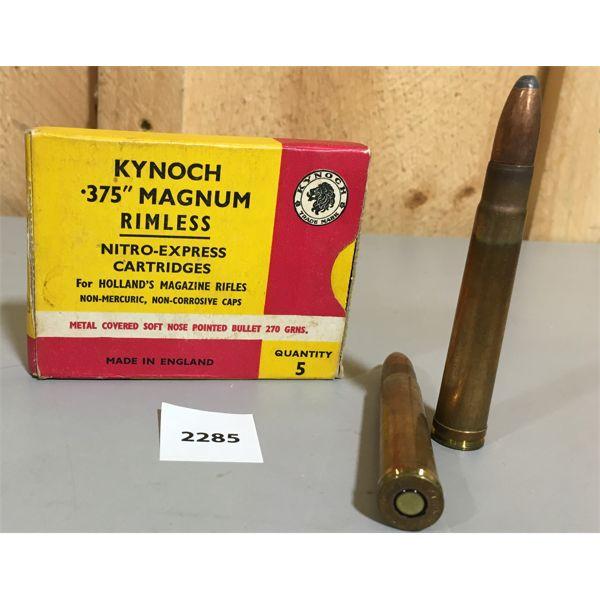 AMMO: 5 X 375 H&H - KYNOCH