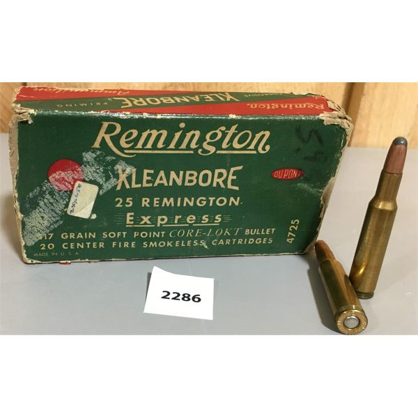 AMMO: 15 x 25 REM - REMINGTON KLEANBORE