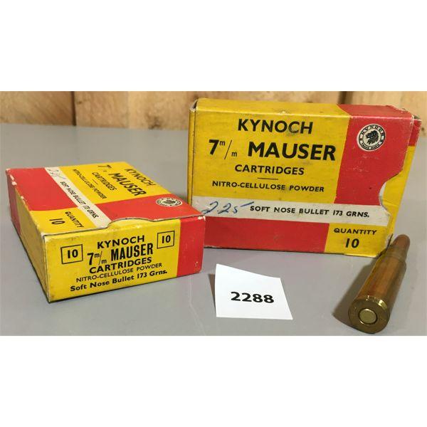 AMMO: 20 x 7MM MAUSER - KYNOCH (1 BOX SEALED)