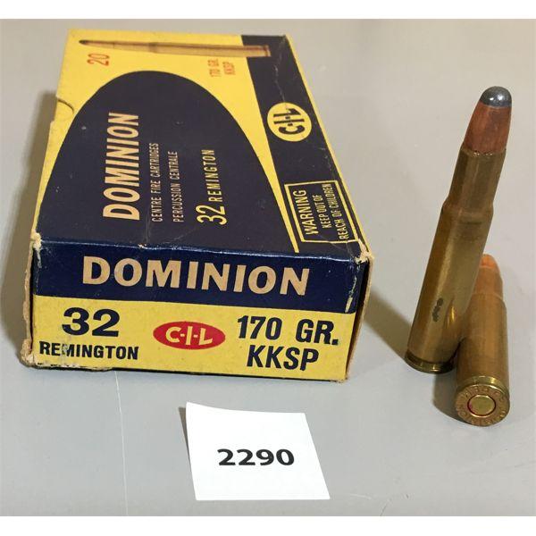 AMMO: 20 x 32 REMINGTON -DOMINION CIL BOX