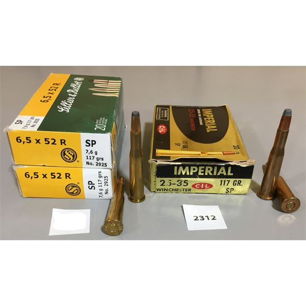 AMMO: 50 x 25-35 & 6.5X52R - IMPERIAL AND SELLIER & BELLOT