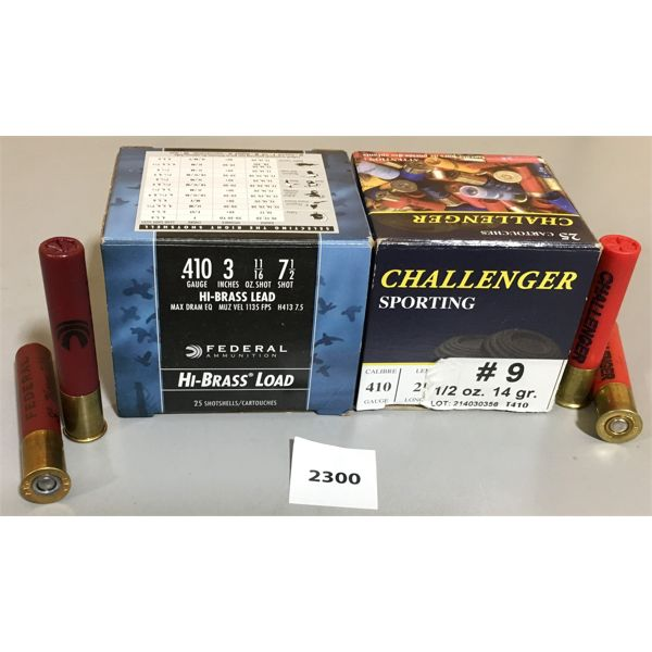 """AMMO: LOT OF 2; #7-1/2, 3"""" - FEDERAL (FULL BOX) & 14 x 410 #9, 2-1/2"""" - CHALLENGER"""