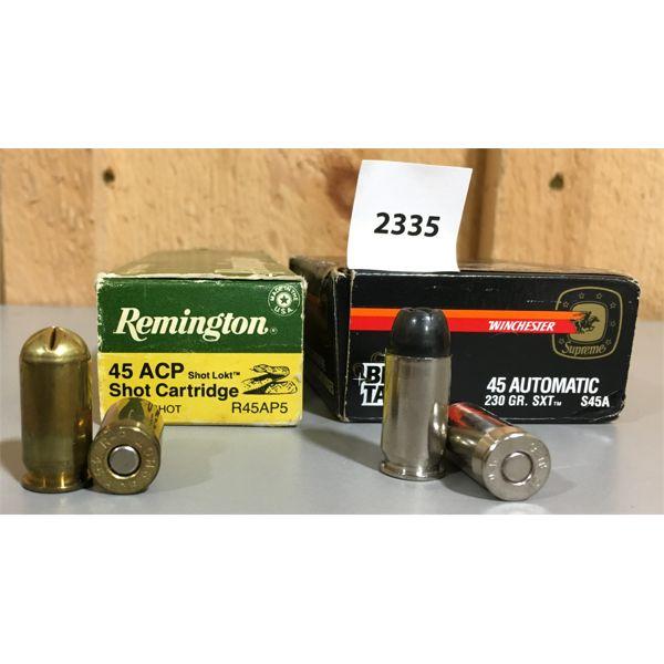 AMMO: LOT OF 2; 14 x 45 AUTO #12 SHOT CART & 20 x 45 AUTO BLACK TALON HP