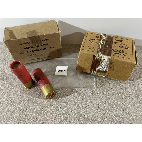 AMMO: 9 x 12 GA.  MILITARY ISSUE W/ 2 MILITARY BOXES
