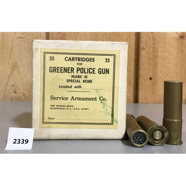 AMMO: 24 x 14GA GREENER POLICE GUN MK III