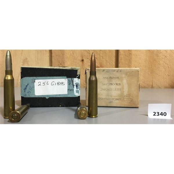 AMMO: 5 x 256 GIBBS MAGNUM; 3 x COPPER PT & 2 x S.P.