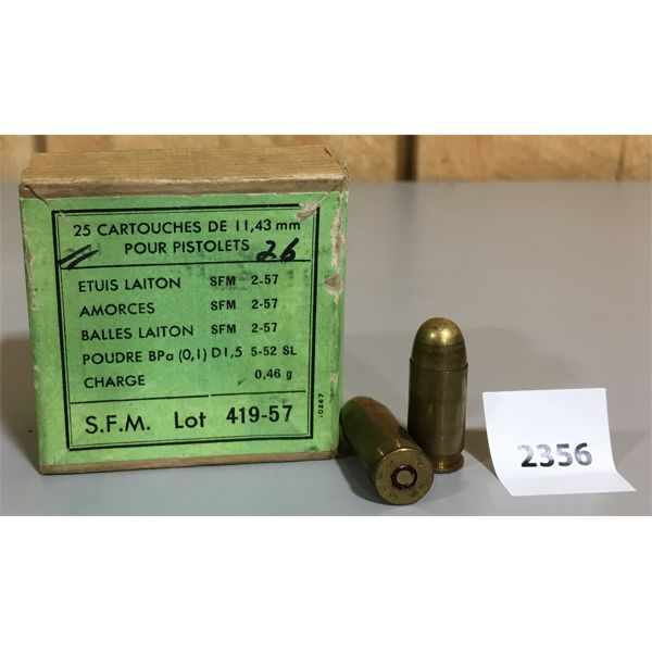 AMMO: 14 x 11.43MM (45 AUTO) FRENCH MILITARY 1957