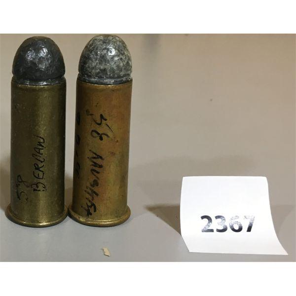 AMMO: LOT OF 2 ROUNDS; 58 MUSKET & 58 BERDAN