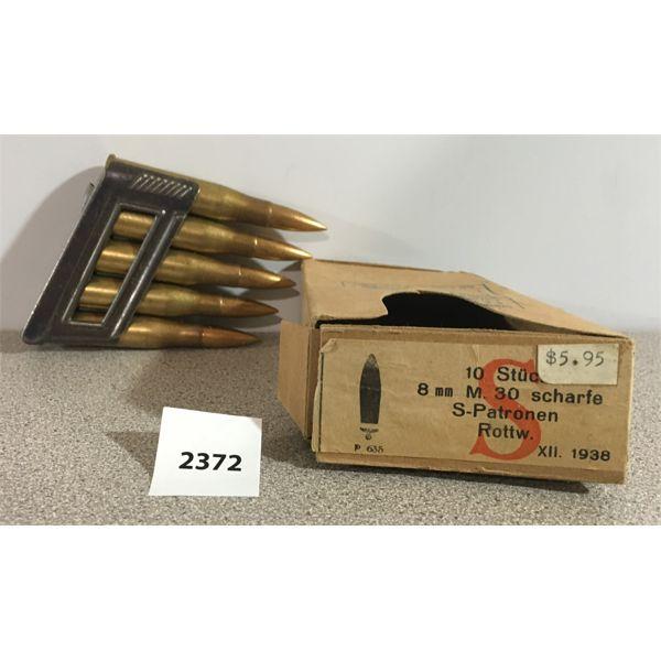 AMMO: 10 x 8X56R ON CLIPS; 1938 NAZI MKD