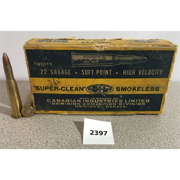 AMMO: 20X CIL 22 SAVAGE 70GR SP
