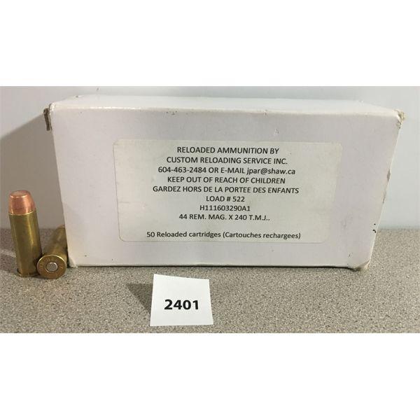 AMMO: 50X 44 REM MAG 240GR TMJ- RELOADS