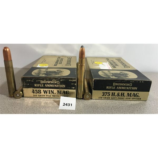 AMMO: BROWNING 20X 375 H&H MAG 270GR & 19X 458 WIN MAG 500GR FMJ