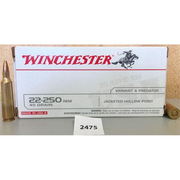 AMMO: 36X LIVE & 4X BRASS WINCHESTER 22-250 REM 45GR JHP