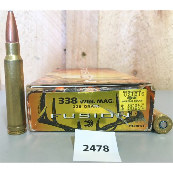 AMMO: 15X LIVE & 4X BRASS FEDERAL 338 WIN MAG 225GR PSP