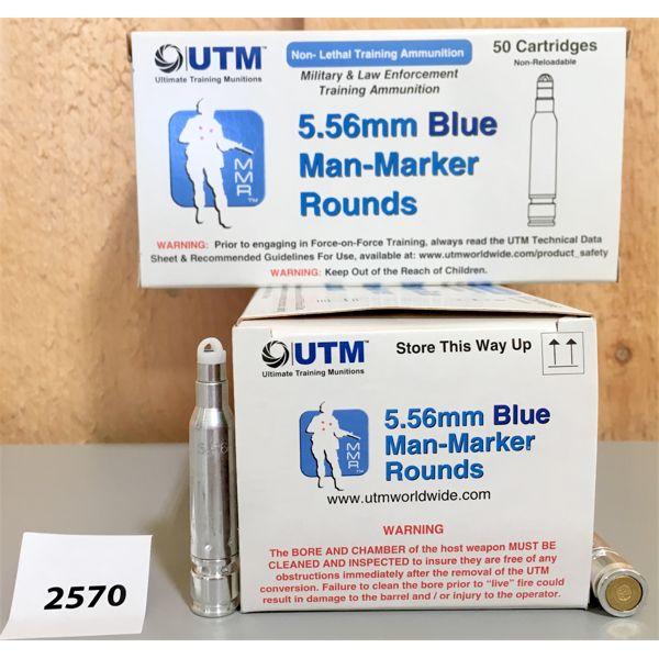 AMMO: 100X UTM 5.56 X 45MM BLUE MAN MARKER