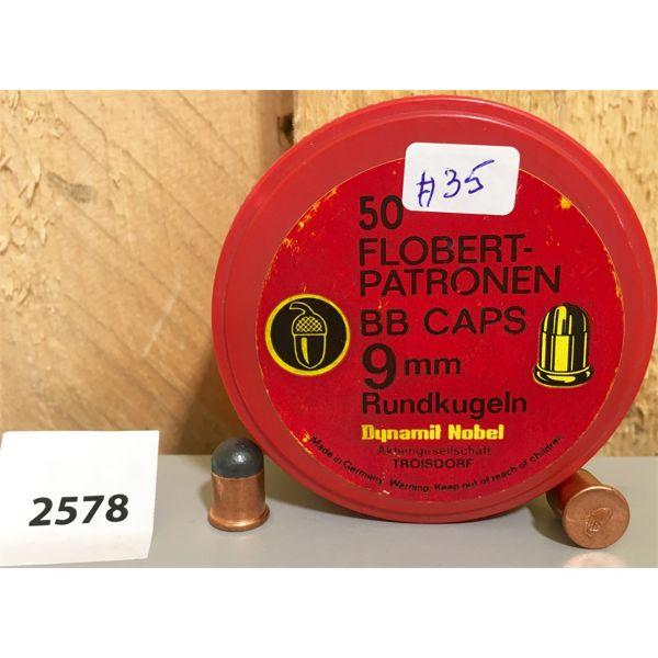 AMMO: 50X 9MM FLOBERT BB CAPS