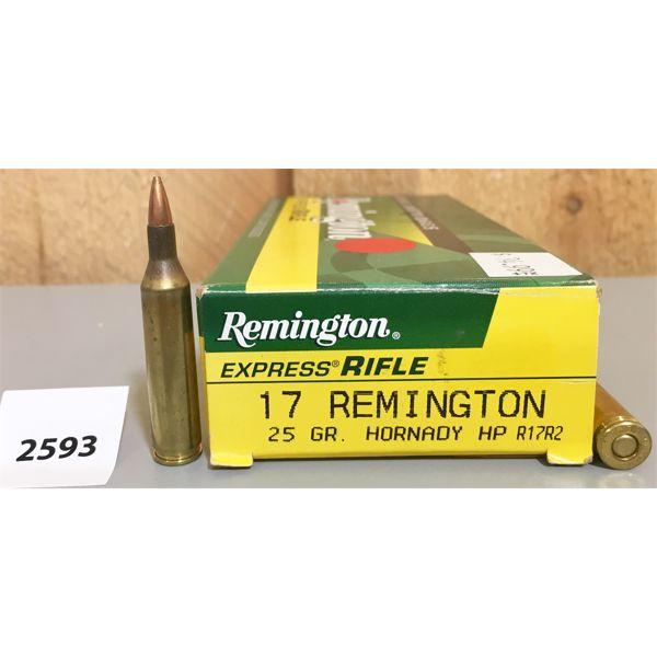 AMMO: 20X REMINGTON 17 REM 25 GR HP