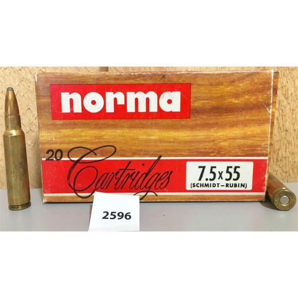 AMMO: 17X NORMA 7.5 X 55 SWISS 180GR SP