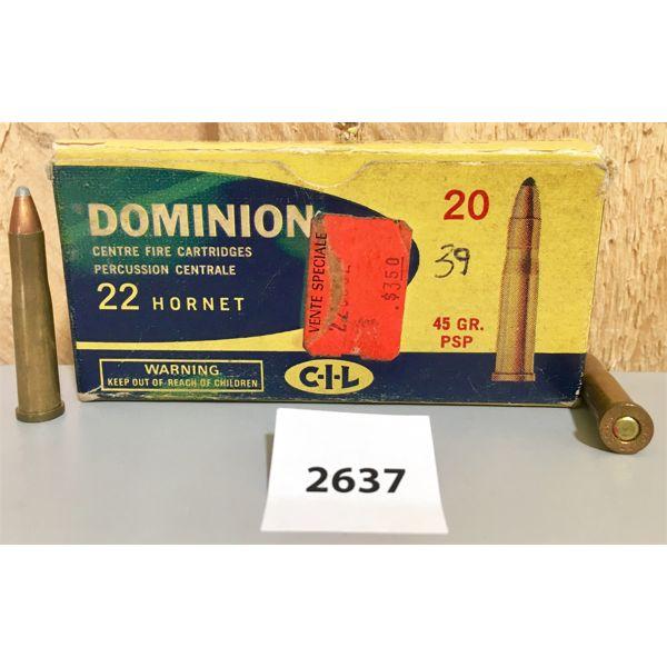 AMMO: 20X CIL 22 HORNET 45GR PSP