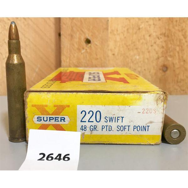 AMMO: 20X WINCHESTER 220 SWIFT 48GR SP