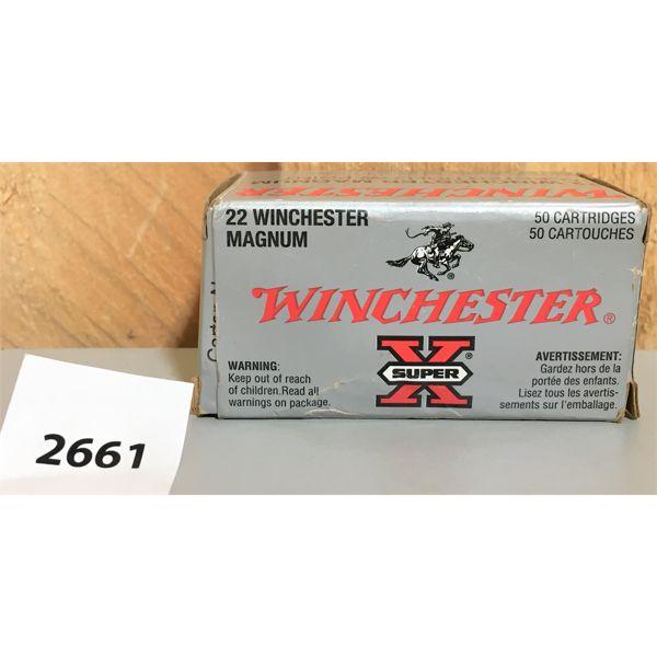 AMMO: 50X WINCHESTER 22 WMR MAG JHP
