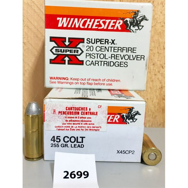 AMMO: 40X WINCHESTER 45 COLT 255GR LEAD