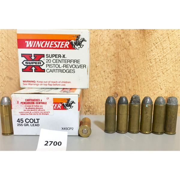 AMMO: 46X WINCHESTER 45 COLT 255GR LEAD