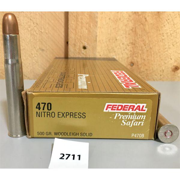 AMMO: 20X FEDERAL 470 NITRO EXPRESS 500GR SOLID