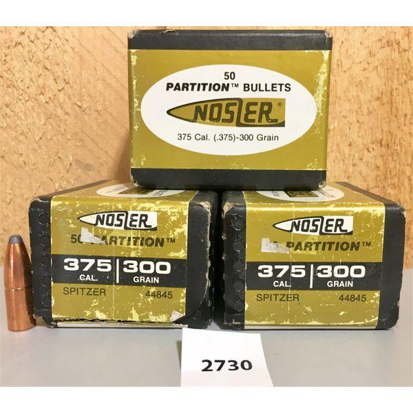 BULLETS: 150X NOSLER PARTITI0N 375 CAL 300GR