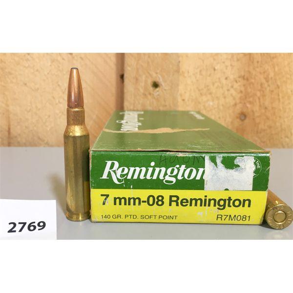 AMMO: 20X REMINGTON 7MM- 08 REM 140 GR SP
