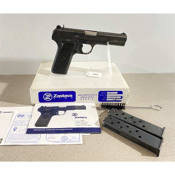 ZASTAWA ARMS MODEL M70A IN 9 MM PARA - RESTRICTED CLASS