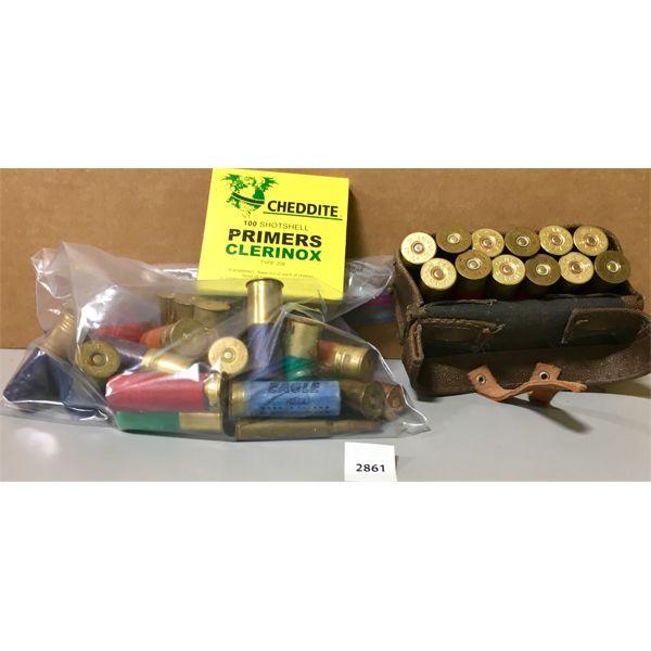 AMMO: APPROX 30X 12GA MIXED & 70X SHOTGUN PRIMERS