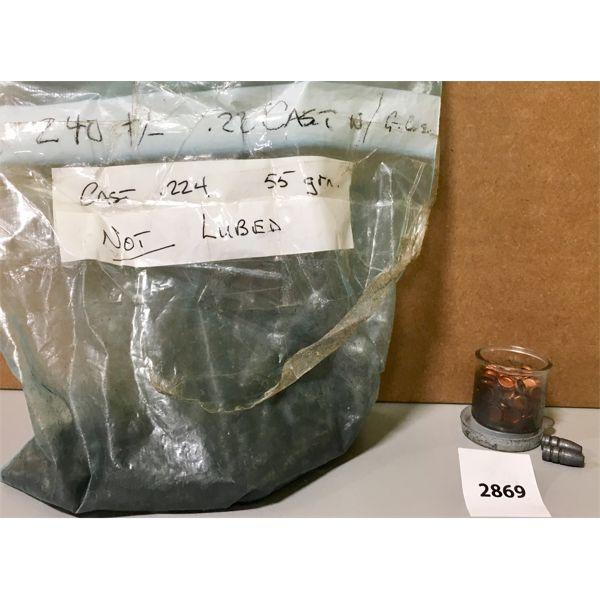 BULLETS: APPROX 240X 22 CAL CAST
