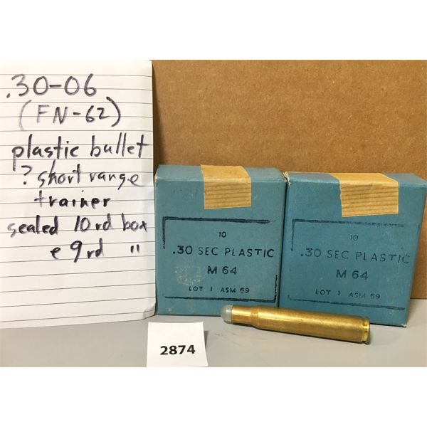 AMMO: 19X 30-06 SPRG PLASTIC BULLET