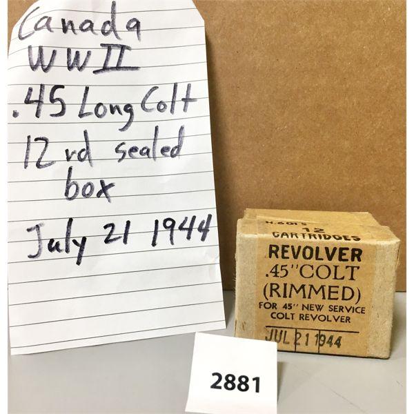 AMMO: 12X 45 COLT SEALED BOX 1944