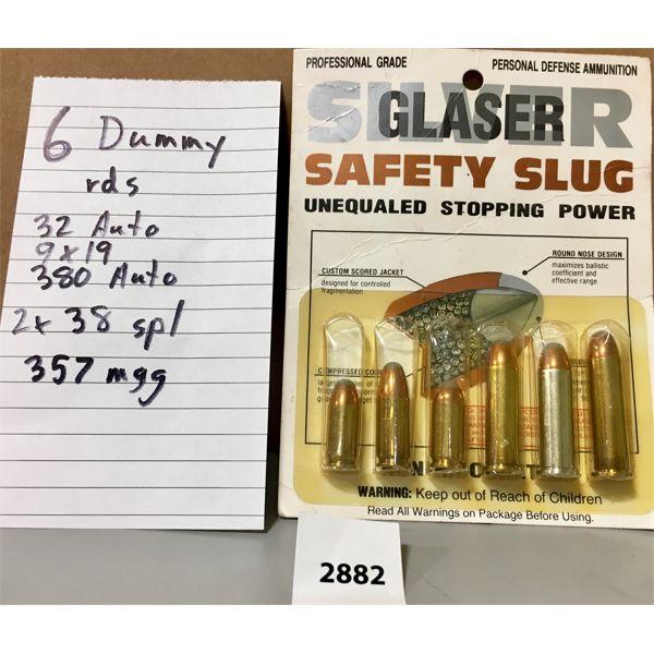 AMMO: 6X SAFETY SLUG CALS 32, 9MM, 380, 2X 38 SPL, 1X 357 MAG