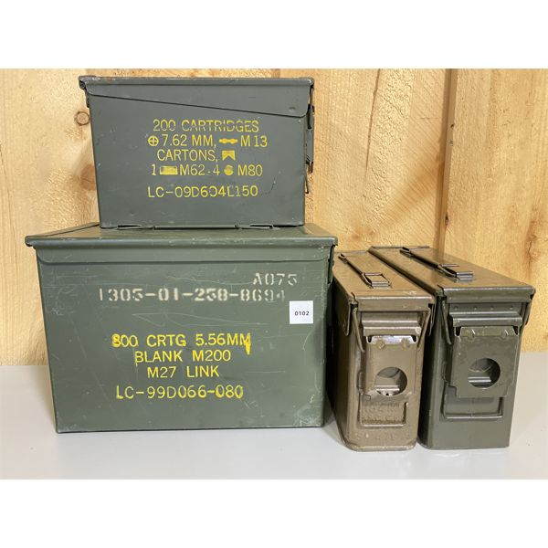 LOT OF 4 - METAL AMMO BOXES
