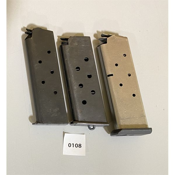 LOT OF 3 - 1911 STYLE MAGS - 1 X RUGER, 1 X .45 ACP