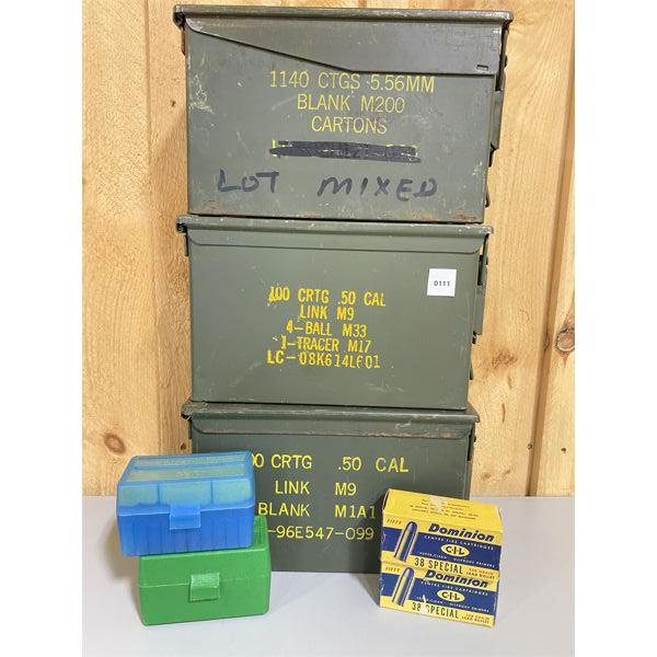 LOT OF 7 - METAL AMMO BOXES, PLASTIC HOLDERS & EMPTY VINTAGE BOXES