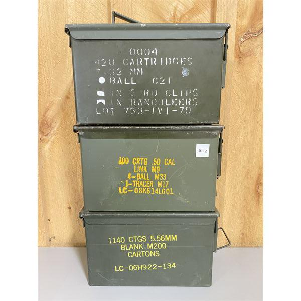 LOT OF 3 - METAL AMMO BOXES