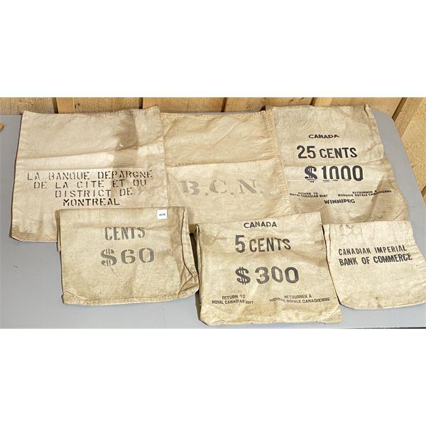LOT 0F 6 - VINTAGE CND CANVAS MONEY BAGS