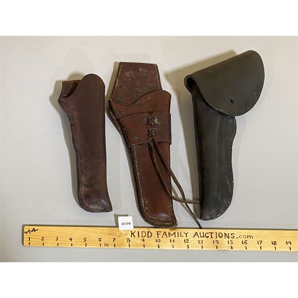 LOT OF 3  - WESTERN STYLE LEATHER HOLSTERS