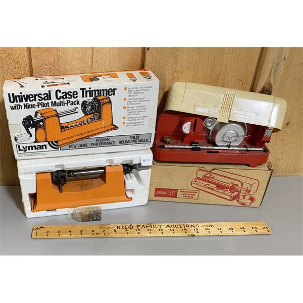 LOT OF 2 - LYMAN CASE TRIMMER & OHAUS 505 RELOADING SCALE