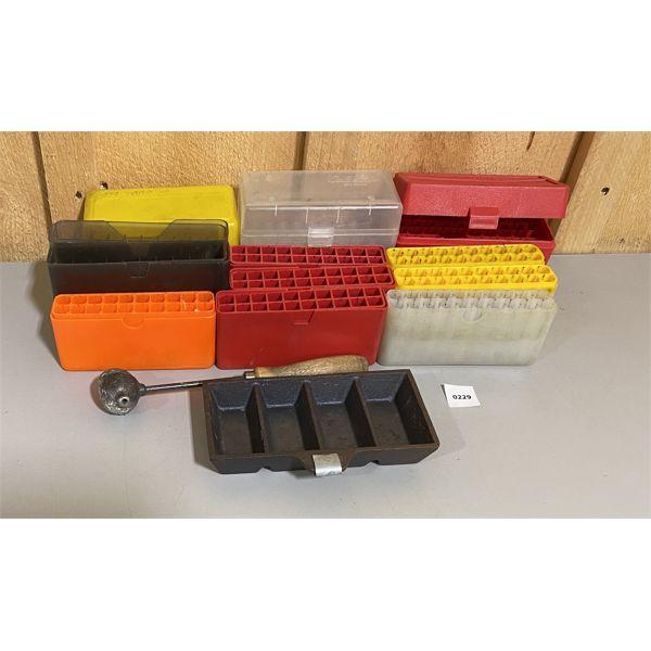 JOB LOT - PLASTIC AMMO BOXES & INGOT 4 CAVITY BULLET MOULD