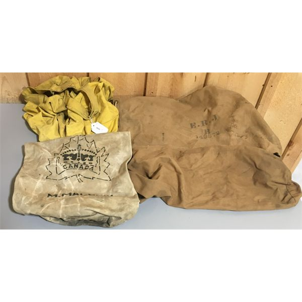 LOT OF 4 WWII CANADIAN MILITARY CANVAS DUFFLE BAGS