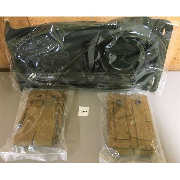 LOT OF 2 COYOTE TAN PISTOL POUCHES AND BACKPACK BLADDER; NIB