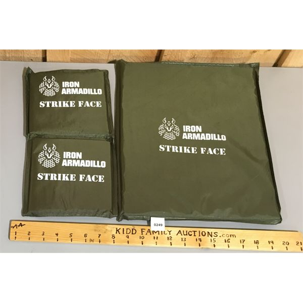 LOT OF 3 LEVEL IIIA BODY ARMOUR SOFT PLATES, 2 SIDE AND 1 BODY
