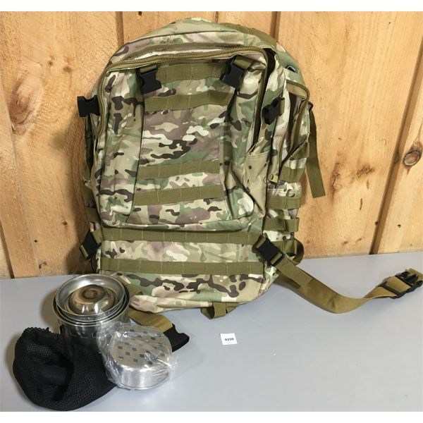 LOT OF 2; MULTICAM DAYPACK & SMALL ROCKET STOVE