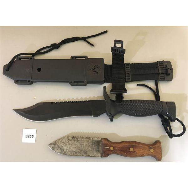 LOT OF 2 FIXED BLADE KNIVES; 1 SHEATH